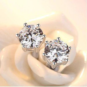 *NEW 2.6 CT Solitaire Diamond Silver Stud Earrings